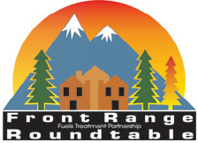 Logo of the Front Range Roundtable. Graphic is a house and trees in front of mountains