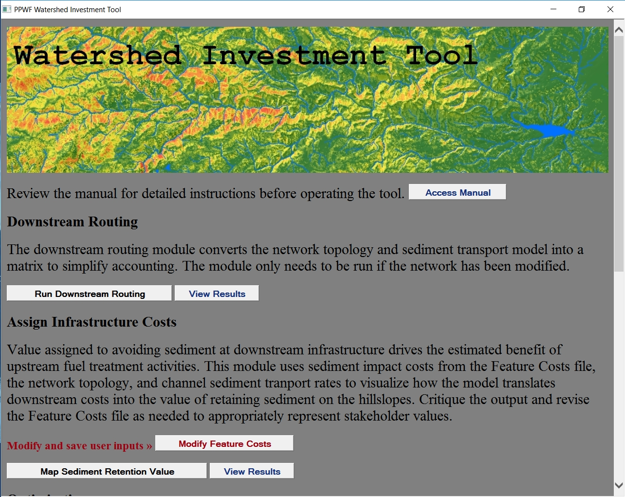 Screenshot of the Watershed Investment Tool