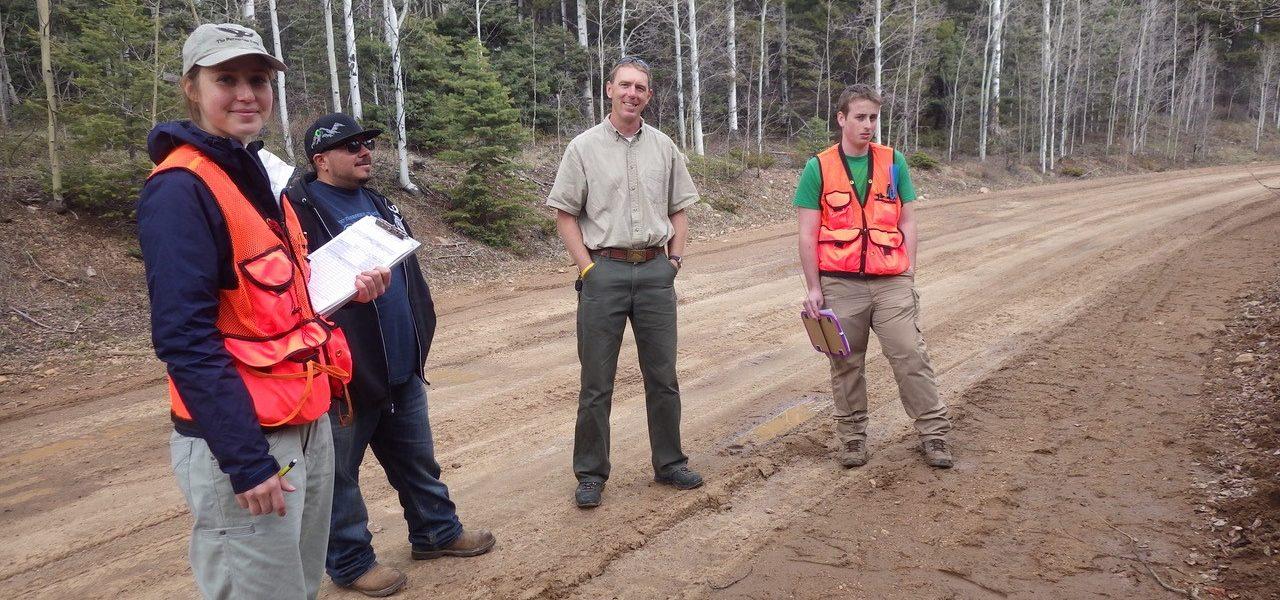 field crew in orange vests